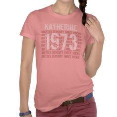 1973 or Any Year 50th Birthday Gift Custom Peach T-shirt