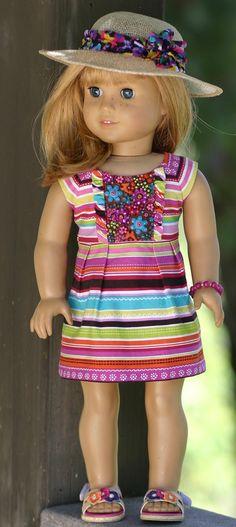 American Girl Doll Clothes...Raspberry Sparkle Sun Dress, Straw Sun Hat, Beaded Bracelet, Flower Sandals by Doll Closet Heirlooms