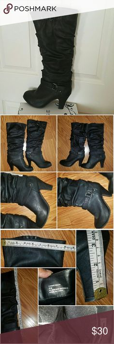 """Rampage Leather Boots Beautiful Rampage boots. Soft leather. Used only once. No damages. Approx 3"""" heel. See 3rd pic for measurements. Soft spongy fabric inside. Rampage Shoes Heeled Boots"""