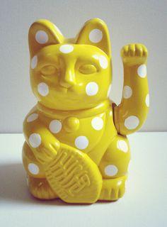 Lucky Cat Figurine Yellow by Lau Sheow Tong (劉紹忠) Crazy Cat Lady, Crazy Cats, Pop Cat, Taurus Moon, Mixed Feelings, Maneki Neko, Cat Art, Vibrant Colors, Sculptures