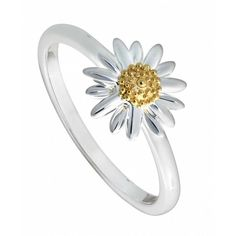 Daisy London Sterling Silver Daisy Ring ($67) ❤ liked on Polyvore featuring jewelry, rings, accessories, silver, sterling silver rings, pandora jewelry, flower ring, engagement rings and sterling silver flower jewelry