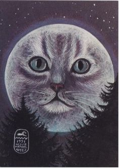 Cat in the Moon  Moon Goddess Print of an original by EYEDEAS, $12.00