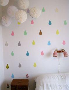 me gusta para pared de color y pintar nube blanca arriba y gotas de distintos colores