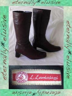LAMBERTAZZI Long Real Leather High Heeled Winter Boots Women Ladies Size 40 UK 7  07.00