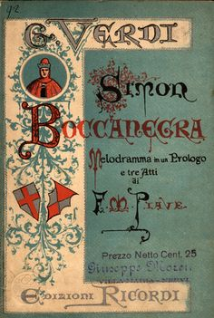 Simon Boccanegra by Giuseppe Verdi, cover of the libretto, second edition 1881