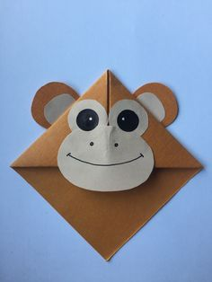 Cute animal corner bookmark fun activity for kids, cute gift idea _ Monkey 🐒 Paper Bookmarks, Bookmarks Kids, Corner Bookmarks, Handmade Bookmarks, Origami Fish, Paper Crafts Origami, Origami Art, Vbs Crafts, Preschool Crafts