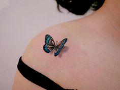 Butterfly Tattoo Design Ideas // August, 2019 🦋butterfly tattoo on shoulder by Realistic Butterfly Tattoo, Butterfly Tattoo On Shoulder, Butterfly Tattoos For Women, Butterfly Tattoo Designs, Tattoos For Women Small, Small Tattoos, Butterfly Design, Tattoo On Shoulder Blade, Blue Butterfly Tattoo