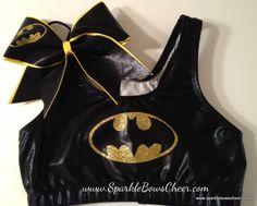 Batty Super Hero Metallic Sports Bra and Bow Set Cheerleading. $38.99, via Etsy.