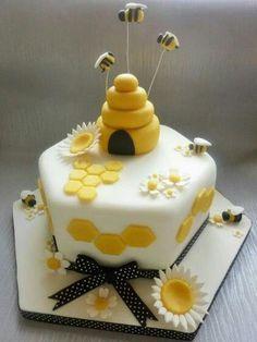 Beekeepers Cake by Amazing Grace Cakes UK Bee Cakes, Cupcake Cakes, Pink Cakes, Cupcakes, Bee Birthday Cake, Bumble Bee Birthday, Bee Cake Pops, Bumble Bee Cake, Camo Wedding Cakes