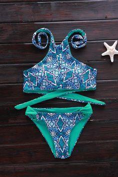 Green Print High Neck Bikini Set GREEN: Bikinis   ZAFUL