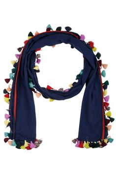 Ka Sha presents Blue tassels staple scarf available only at Pernia's Pop Up Shop. Bollywood Outfits, Pakistani Outfits, Salwar Kameez, Pompom Scarf, Boutique Suits, Indian Accessories, Cute Scarfs, Latest Designer Sarees, Pernia Pop Up Shop