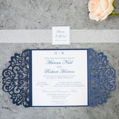 423b08b4caddb fabulous navy blue laser cut wedding invitations with glitter belly band  and tag EWWS198 as low