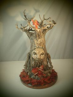 Items similar to OOAK Fall Treant sculpture. on Etsy My Etsy Shop, Table Lamp, Vase, Sculpture, Unique Jewelry, Handmade Gifts, Check, Vintage, Home Decor