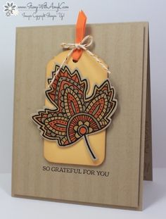 handmade Thanksgiving card ... Lighthearted Leaves With Stripes ... luv the colors on light kraft ... Stampin' Up!