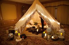 Glam + Camping = Glamping! Here is some fabulous inspirational ideas for hosting a Glamping party. Add props outside your tent like a disco ball globe and gold painted luggage.