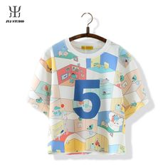 Aliexpress.com : Buy Summer Sweet Casual Loose Shirt For Women Short Sleeve O neck Cotton Colorful Blouses With Cartoon Letter Printed from Reliable blouses for women 2013 suppliers on JYJ STUDIO Cheap Blouses, Blouses For Women, Cartoon Letters, Loose Shirts, Jyj, Colorful, Lettering, Crop Tops, Studio