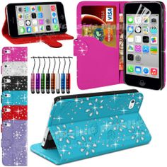 Diamond Leather Glitter Wallet Flip Stand Case Cover Pouch For APPLE iPhone 5C
