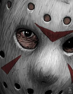 Illustration of Jason Voorhees sporting his iconic hockey mask from the Friday the 13th horror film franchise. Description from pinterest.com. I searched for this on bing.com/images
