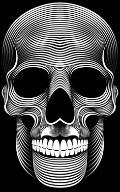 Patrick Seymour is an Illustrator based in Montreal, Canada. His field of expertise are in Digital art, Illustration and Character Design. He is making some awesome black and white illustrations only with simple lines. Patrick Seymour, Op Art, Totenkopf Tattoos, Skull Artwork, Skull Wallpaper, Iphone Wallpaper, Ouvrages D'art, Desenho Tattoo, Line Illustration