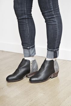 "The Dos Tonos' two-tone black and speckled grey leather is the perfect combination for this expressive ankle boot. Dimensions: Heel measures 1.75"" Details: Handmade in Guatemala. Leather upper, leathe"