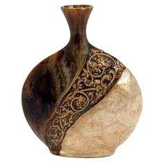 Warmly hued in browns and golds, the DecMode Capiz Shell Vase is truly a work of art. Featuring embossed scroll detailing and layered capiz shells,. Bottle Art, Bottle Crafts, Urn Vase, Altered Bottles, Gourd Art, Decoration Design, Vases Decor, Ceramic Vase, Gourds