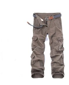 New Tide Washed Cargo Textured Outdoors Overalls Multi-Pocket Trousers Loose Cotton Army Commando Style Men's Casual Trousers #Affiliate