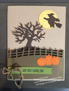 #HalloweenScenes  The new Edgelit dies from Stampin' UP! combine with the stamp set #SpookyFun to create this awesome card.  See how I created the depth to this card when you visit my blog post; http://www.mystampinspace.com/2016/09/whats-all-the-fun-about/