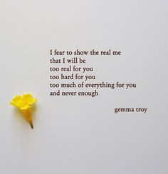 Too much and not enough. Gemma Troy