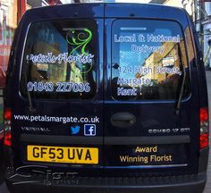 42d5f036b845ff Award winning Petals Florist in Margate new Shop Fascia design and van  livery with a floral swirl.