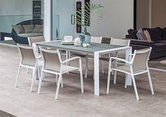 7pce Orlando Table & Luis Sling Chair Aluminium Setting