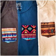 """One trend that has been emerging in the fashion world is the customization of basic t shirts. Additions of a contrasting pattern chest pocket, such as in this image, is a very popular """"do it yourself"""" activity. Other versions of revamping an old t shirt is changing the collar fabric and various trimmings on each shirt. Lauren Thomas"""