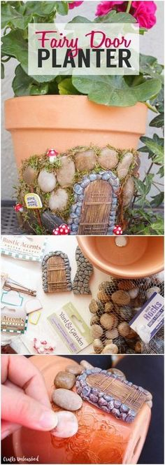 If you& into fairy gardens, you& going to love this DIY fairy house . If you& into fairy gardens, you& going to love this DIY fairy house planter. This working planter is decorated with your favorite fairy miniatures! Garden Crafts, Garden Projects, Garden Art, Terrace Garden, Craft Projects, Project Ideas, Garden Design, Garden Planters, Fall Projects