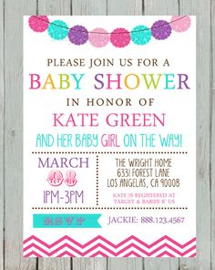 baby girl shower invitation printable baby shower invitation bright colors girl baby shower invitation digital baby shower chevron