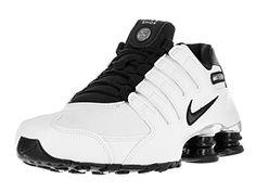 d7be2393e9b816 Nike Mens Shox NZ Premium Running Shoes White Black Chrome 536184-100 Size