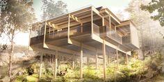 Efter flera års planering har Erik Hedenstedt med prisbelönade arkitektstudion Widjedal Racki, tagit fram ett ekohus på styltor till Emils Backe i Trosa.