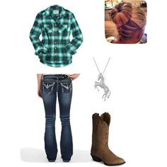 A fashion look from November 2013 featuring plaid flannel shirt, vintage jeans and dressy boots. Browse and shop related looks. Country Girl Look, Cute Country Outfits, Country Wear, Country Attire, Country Fashion, Country Life, Country Boots, Cowgirl Outfits, Western Outfits