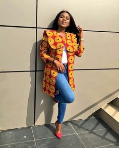 Excited to share this item from my shop: Ankara African print wax midi coat jacket kimono blazer African Inspired Fashion, African Print Fashion, Africa Fashion, African Fashion Dresses, African Outfits, African Attire, African Wear, African Dress, African Style
