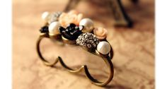 Retro Stunning Style Flower Pearl and Rhinestone Embellished Three Finger Design Finger Ring (COLOR ASSORTED) China Wholesale - Sammydress.com