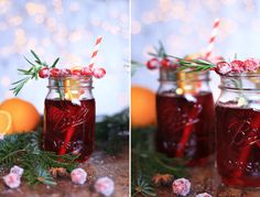 Cranberry Punch with Rosemary! Perfect Winter Cocktail!