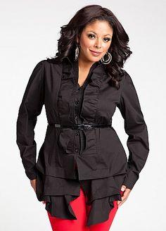 Plus size black ruffle front button up top by Ashley Stewart  #UNIQUE_WOMENS_FASHION