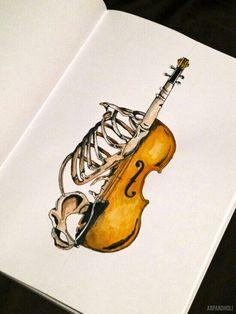 Form Mash-Up Skizzenbuch Idee - Skelett Anatomie und Musikinstrumente - Skizzieren Sketchbook Inspiration, Art Sketchbook, Sketch Manga, Anatomy Art, Arte Pop, Gcse Art, Art Plastique, Pop Art, Art Drawings