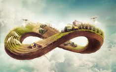 Download wallpapers 4k, agriculture, infinity sign, plantation cycle, 3d art, farming