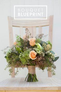 Wedding Bouquet Blueprint - green filler and peach roses