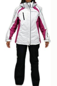 Completo sci da donna della West Scout. Giacca in bianco con dettagli in grigio, nero e fucsia. Pantalone nero