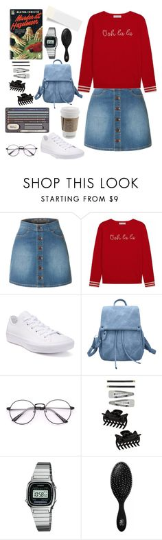 """""""0.00.050"""" by estrellica ❤ liked on Polyvore featuring LE3NO, Converse, Dorothy Perkins, Casio and The Wet Brush"""