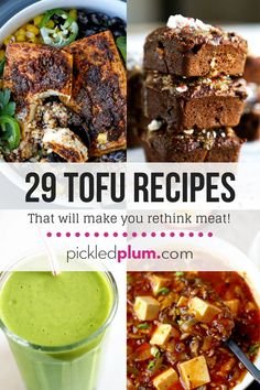 29 Tofu Recipes That Will Make You Rethink Meat! Tofu is such a versatile ingredient and something I have been cooking with since I was a kid. There is so much you can do with tofu and this post (for beginners and professionals) shows you it can be used in several different ways - Healthy, easy tofu recipes. Use it in a dessert, in a smoothie or in stir fries and main dishes. Marinated tofu, Vegan, for kids, Asian style, Western style. Recipes for silken, medium and firm tofu. #tofu…