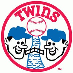 Minnesota Twins Alternate Logo (1972) - Two Twins heads smiling over a river with a bridge in a circle with Twins in red