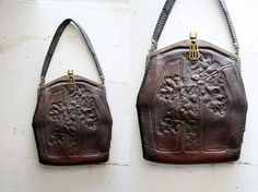 antique 1918 ACORN tooled leather handbag / gothic by revivalhouse, $90.00