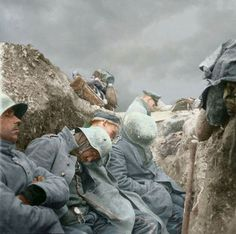 A common scene across the battlefields of Europe. Exhausted soldiers sleeping, (in this case Germans).