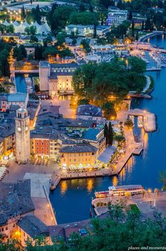 Lake Garda Town of Riva del Garda Italy (blue hour) Photo by Ladiras on Getty Images. more with healing sounds: Italy Vacation, Italy Travel, Places To Travel, Places To See, Vacation Places, Lake Garda Italy, Riva Del Garda, Italian Lakes, Living In Italy